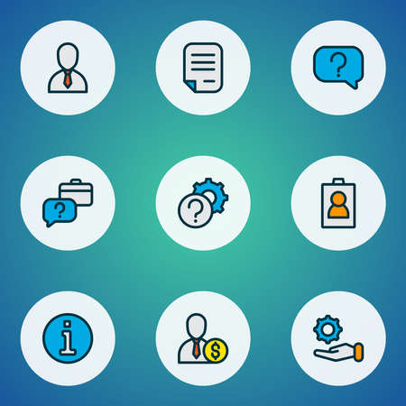 Work icons colored line set with faq, id, information and other support elements. Isolated vector illustration work icons. Ilustracja