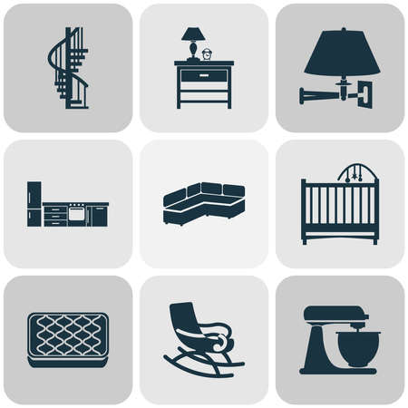 Home decoration icons set with bedside table, rocking chair, circular staircase and other nightstand elements. Isolated vector illustration home decoration icons.