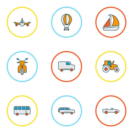 Transportation icons colored line set with suv, plane, air balloon and other yacht elements. Isolated vector illustration transportation icons. Stok Fotoğraf - 133464651