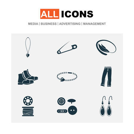 Fashionable icons set with buttons, earring, bangle and other boots elements. Isolated vector illustration fashionable icons. Standard-Bild - 133464792