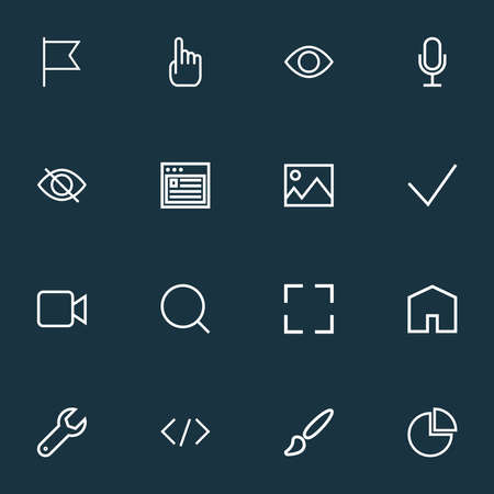 User icons line style set with target, cursor, magnifier and other image elements. Isolated vector illustration user icons.