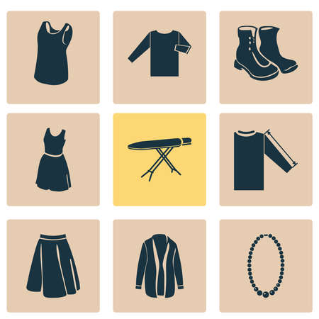 Style icons set with cardigan, sleeve length, apparel and other clothes elements. Isolated vector illustration style icons.