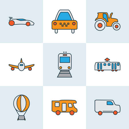 Transit icons colored line set with tractor, campervan, sport car and other agriculture car elements. Isolated vector illustration transit icons.