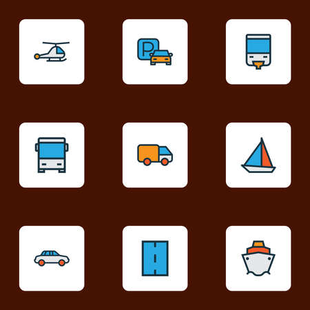 Shipment icons colored line set with car, bus, sail boat and other yacht elements. Isolated vector illustration shipment icons.