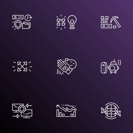 Connection icons line style set with tracking glove, reverse engineering, forecasting model and other worldwide elements. Isolated vector illustration connection icons.