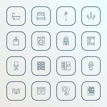 Decor icons line style set with double bed, dining table, floor lamp and other bathroom elements. Isolated vector illustration decor icons.