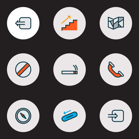 Information icons colored line set with escalator, way in, staircase and other navigation elements. Isolated illustration information icons. Standard-Bild - 133468229
