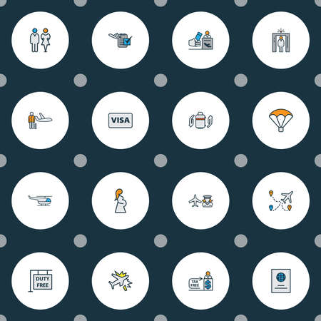 Airport icons colored line set with passport, hanging board, airport security and other airport worker elements. Isolated illustration airport icons. Фото со стока