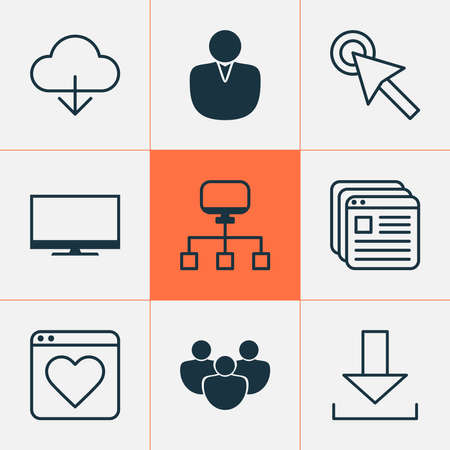 Connection icons set with mouse click, group, cloud and other followed elements. Isolated vector illustration connection icons.