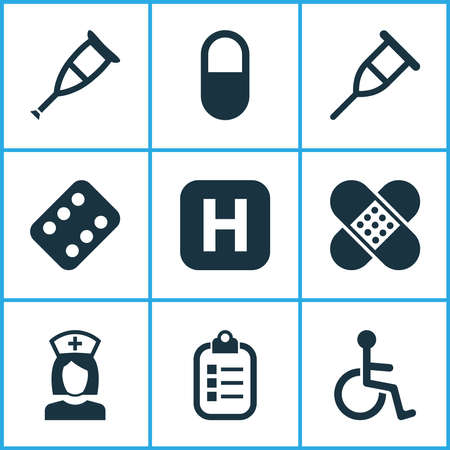 Drug icons set with crutch, invalid, medicament and other spike elements. Isolated vector illustration drug icons.
