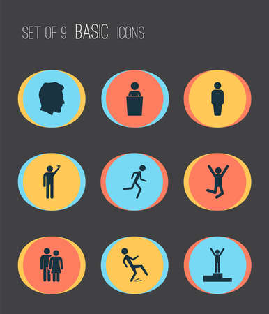 People icons set with success, jogging, doing selfie and other downfall elements. Isolated vector illustration people icons. Illusztráció
