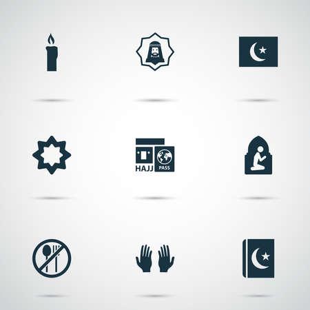 Ramadan icons set with hajj, pray, namaz room and other palm elements. Isolated vector illustration ramadan icons. Фото со стока - 133468346