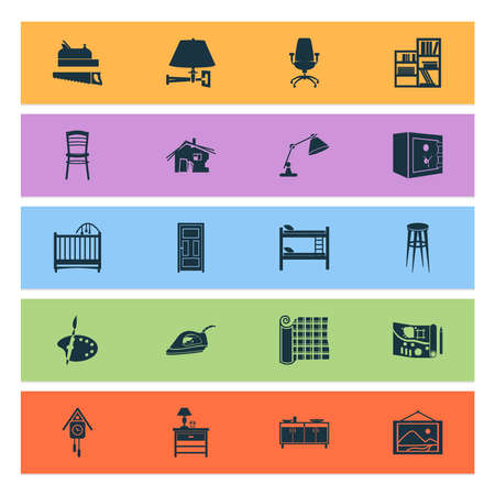 Home decoration icons set with landscape design, wall picture, table lamp strongbox elements. Isolated vector illustration home decoration icons. Vector Illustration