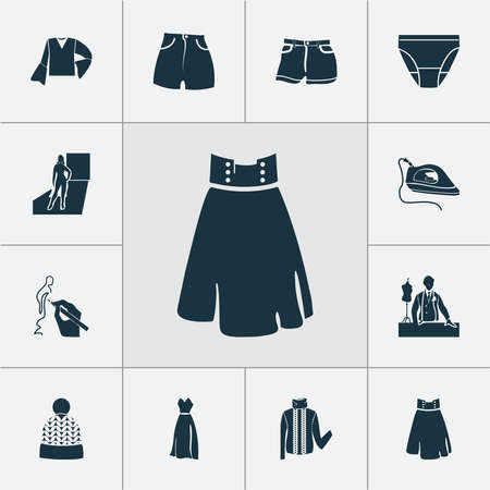 Style icons set with turtleneck sweater, beachwear, drawing and other beanie elements. Isolated vector illustration style icons.