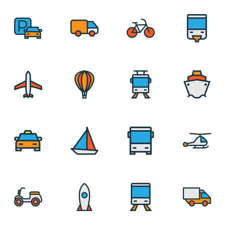 Shipment icons colored line set with bike, taxi, tram and other bicycle elements. Isolated vector illustration shipment icons.