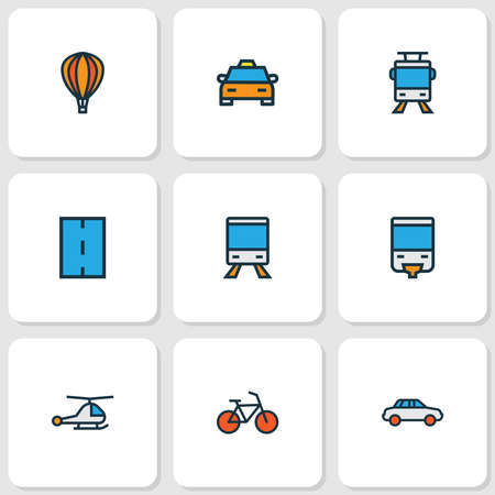 Shipment icons colored line set with monorail, taxi, tram and other automobile elements. Isolated vector illustration shipment icons. Illustration
