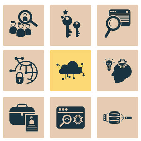 Business icons set with audience targeting, search optimization, search content and other SEO elements. Isolated vector illustration business icons.