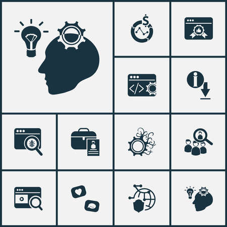 Business icons set with bug fixing, code optimization, marketing strategy and other feedback elements. Isolated vector illustration business icons.