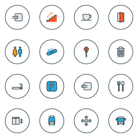 Information icons colored line set with door, parking sign, staircase and other trash bin elements. Isolated vector illustration information icons.
