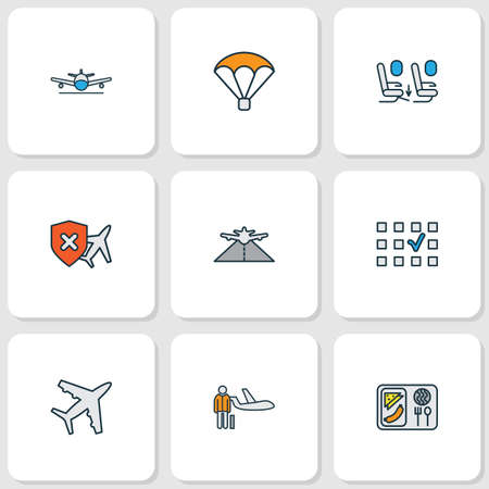 Transportation icons colored line set with seat feet space, parachute, plane food and other passenger   elements. Isolated vector illustration transportation icons.