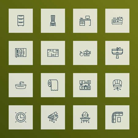 Home decoration icons line style set with dining chair, kitchen set, toilet paper and other ergonomic chair   elements. Isolated vector illustration home decoration icons.