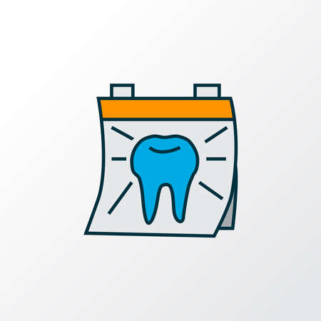 Dentist day icon colored line symbol. Premium quality isolated calendar element in trendy style.