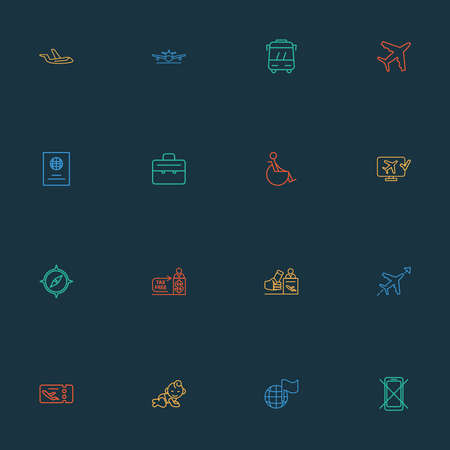 Transportation icons line style set with online check-in, baby room, aircraft and other briefcase elements. Isolated vector illustration transportation icons. Archivio Fotografico - 134709100