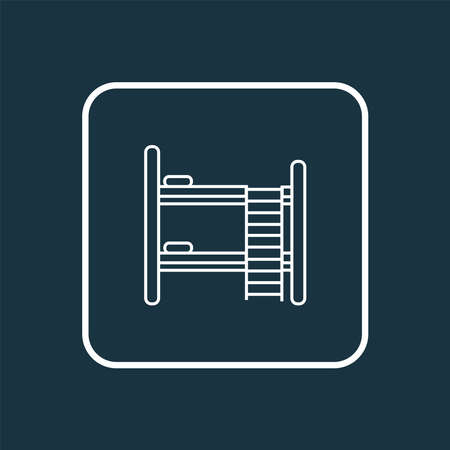 Double bed icon line symbol. Premium quality isolated hostel element in trendy style.
