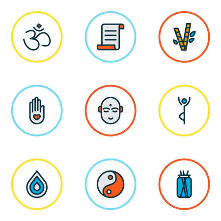 Meditation icons colored line set with yoga pose, bamboo, drop and other tao elements. Isolated vector illustration meditation icons.