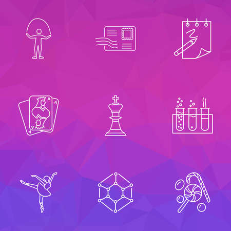 Entertainment icons line style set with candy, ballet, sketching envelope elements. Isolated vector illustration entertainment icons.