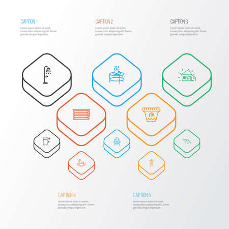 Home decoration icons line style set with fridge, old hut, shower and other house elements. Isolated vector illustration home decoration icons.