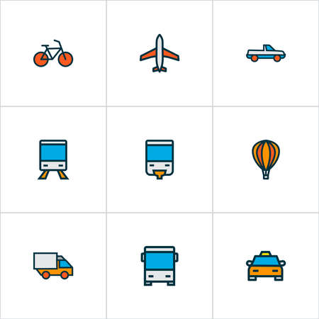 Transportation icons colored line set with airplane, train, bike and other bicycle elements. Isolated vector illustration transportation icons.