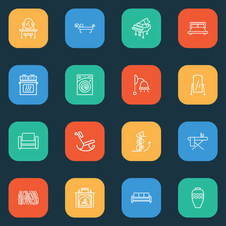 House icons line style set with oven, vase, rocking chair and other laundromat elements. Isolated vector illustration house icons. Ilustrace