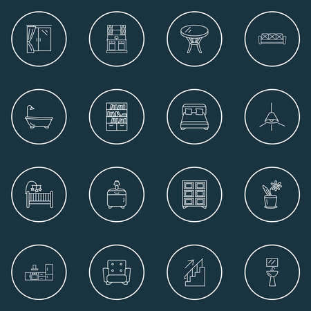 Decor icons line style set with kitchen set, shelving unit, window and other chandelier elements. Isolated vector illustration decor icons.