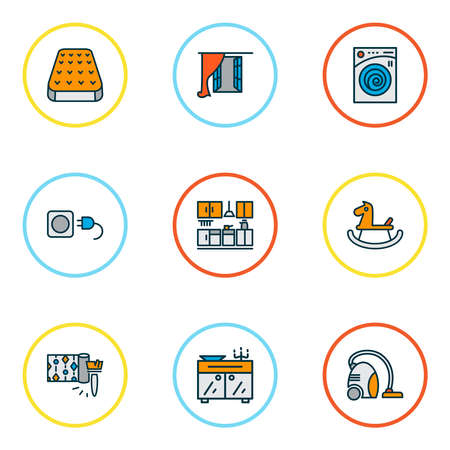 Home decoration icons colored line set with vacuum cleaner, kitchen set, wallpaper and other laundromat elements. Isolated vector illustration home decoration icons. Ilustração