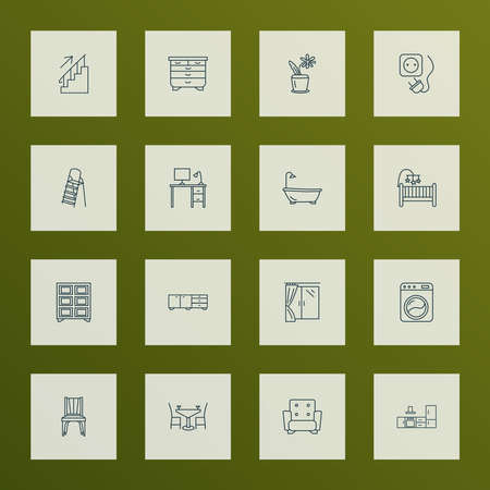 Interior icons line style set with washing machine, sideboard, armchair and other laundromat elements. Isolated vector illustration interior icons. Ilustração