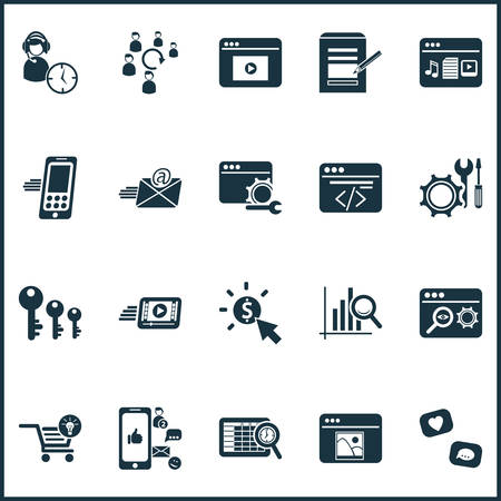 Finance icons set with keyword ranking, audience engagement, pay per click and other programming elements. Isolated vector illustration finance icons.