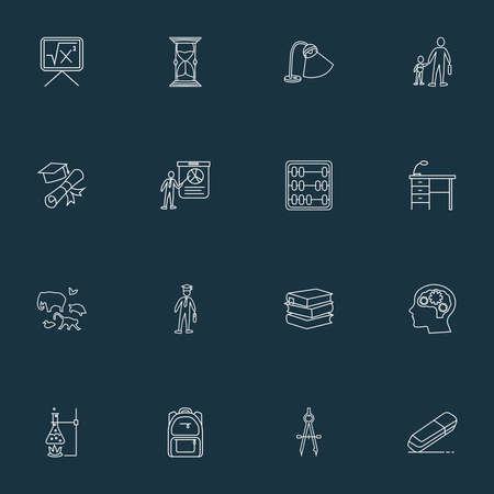 Education icons line style set with primary school, compass, math and other intelligence elements. Isolated vector illustration education icons.