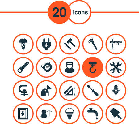 Construction icons set with sawing, hook, welder and other tap elements. Isolated vector illustration construction icons.