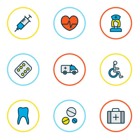 Medicine icons colored line set with tooth, first aid car, medicament and other enamel elements. Isolated vector illustration medicine icons. Zdjęcie Seryjne - 134409443