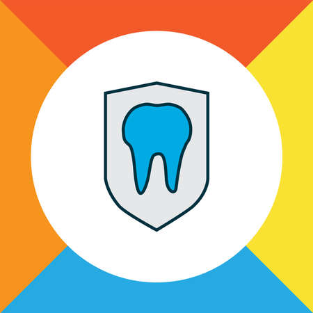 Tooth protection icon colored line symbol. Premium quality isolated security element in trendy style.