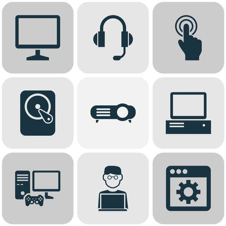 Computer icons set with joystick, man with laptop, touchscreen and other forefinger elements. Isolated vector illustration computer icons. 向量圖像