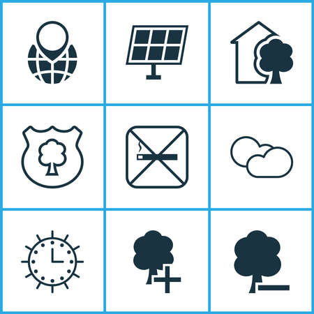 Ecology icons set with globe pointer, solar time, plant tree and other sun power elements. Isolated vector illustration ecology icons.