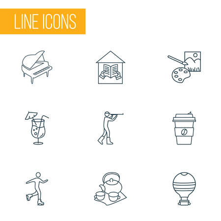 Entertainment icons line style set with coffee, cocktail, hunting and other porcelain elements. Isolated vector illustration entertainment icons.