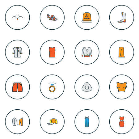 Fashionable icons colored line set with sleeveless shirt, cropped top, thimble and other slipper elements. Isolated vector illustration fashionable icons. Illustration