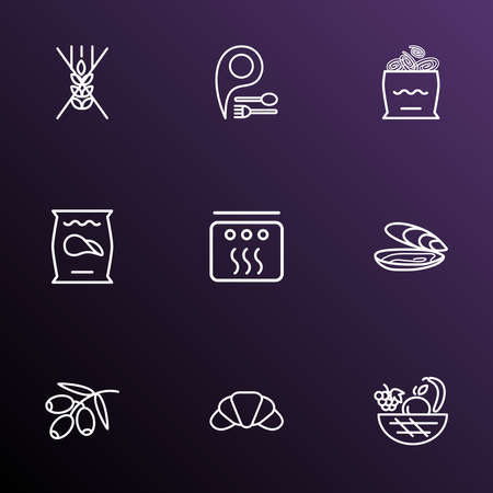 Meal icons line style set with oyster, fruit basket, olive branch and other virgin elements. Isolated vector illustration meal icons.
