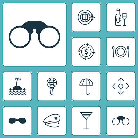 Travel icons set with around globe, parasol, field glasses and other reef elements. Isolated vector illustration travel icons.