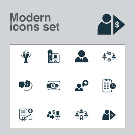 Work icons set with contract, investor, job performance and other architecture elements. Isolated vector illustration work icons. Ilustracja