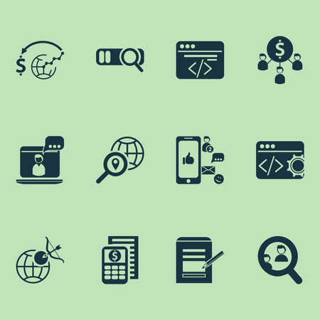 Business icons set with social media, geo targeting, custom coding and other commercial elements. Isolated vector illustration business icons.