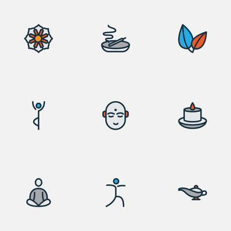 Meditation icons colored line set with relaxation, meditation, mandala yoga elements. Isolated vector illustration meditation icons. Ilustracja